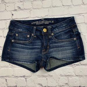 American Eagle Dark Wash Stretch Jean Shorts EUC